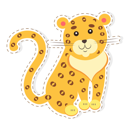 Cute Jaguar Cartoon Flat Vector Sticker or Icon Иллюстрация