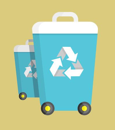 Vuilnisbak op Wielen met Recycling Symbol Vector Stock Illustratie