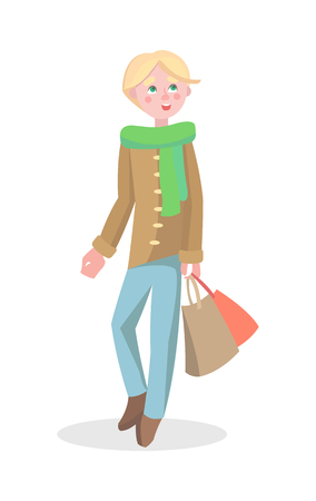 Young Man Shopping Flat Cartoon Vector Icon Illustration