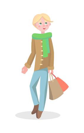Young Man Shopping Flat Cartoon Vector Icon Ilustrace