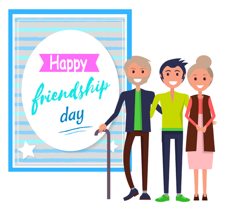 Happy Friendship Day Greeting Card with Friends