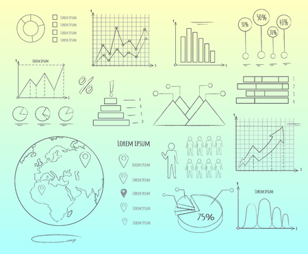 Visual Representation of Data in Graphics Outline Stok Fotoğraf - 88839334