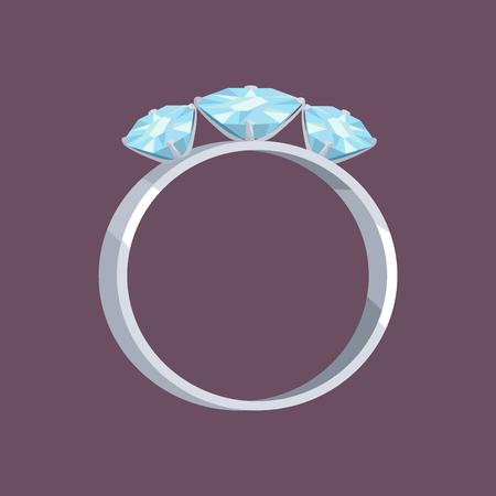 Zilveren of witgouden ring met drie blauwe stenen Stockfoto - 88839336
