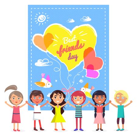 Best Friends Day banner and Friendly Children