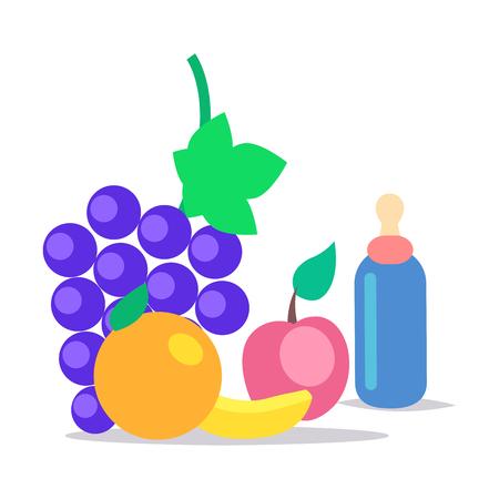 키즈 건강한 식량 플랫 벡터 컨셉
