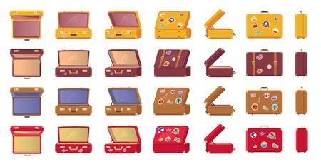 Ouderwetse vintage koffers met stickers