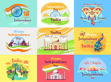 Indian Independence Day Celebration Emblems Set