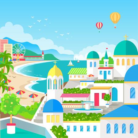 Vue spectaculaire de la ville de villégiature avec long beach Banque d'images - 88839379
