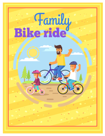 Family Riding Bikes Together Colorful Poster. Stock Vector - 88839386