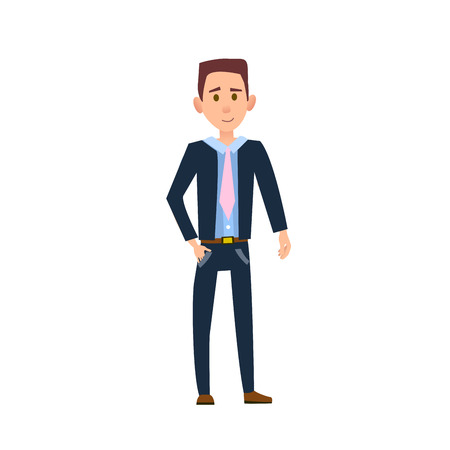 Male Character with Slight Smile Illustration