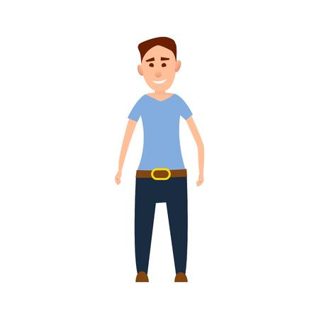 파란색 t- 셔츠 그림에서 재미있는 남성 캐릭터 스톡 콘텐츠 - 88839390