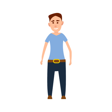 Funny Male Character in Blue T-Shirt Illustration