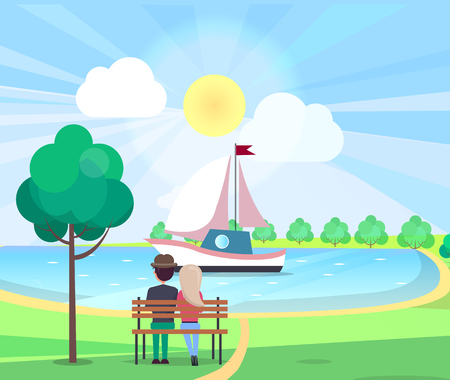 Couple on Bench Admiring Floating Yacht in Park