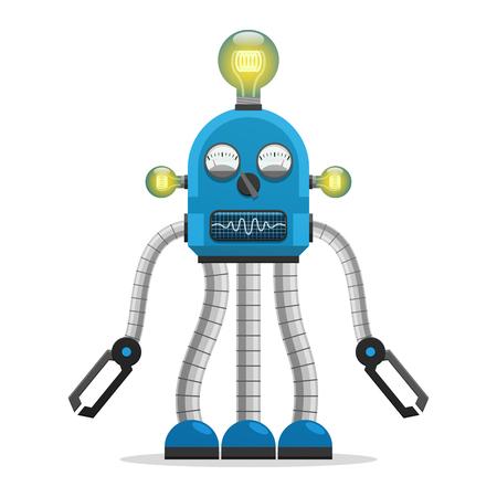 전구 및 표시기가있는 로봇 그림