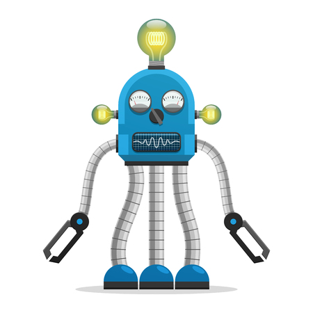 Robot with Light Bulbs and Indicators Illustration
