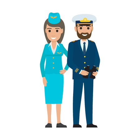 Stewardess in Cap and Sea Captain with Binoculars