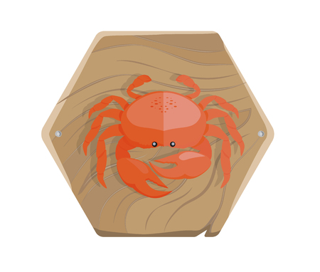 Fresh Crab on Wooden Tray Isolated Illustration