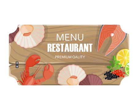 Restaurant Menu with Seafood of Premium Quality