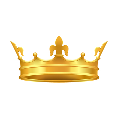 Golden Crown with Red and Blue Stones Close-up Illustration