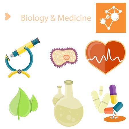 Biology and Medecine Poster with Illustrations Set Illustration