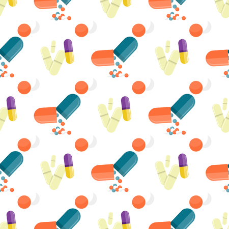 Seamless Pattern Medical Drugs, Pills, Capsules