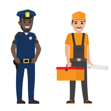 Set of Black Policeman and Whiskered Builder Flat