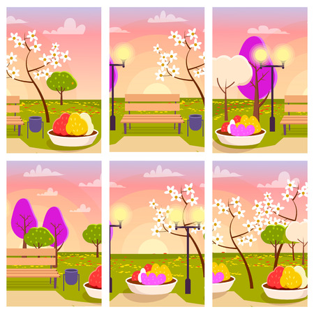 Empty Park with Flowers at Sunset Illustration Illustration