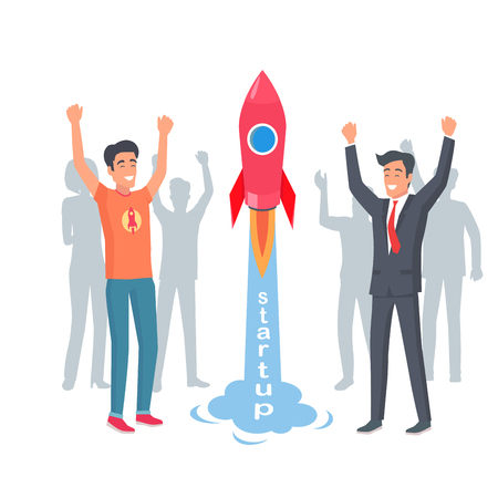 Take-off Rocket in Startup. Happy and Joyful Men Illusztráció