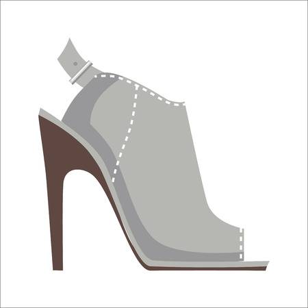 Mules Shoe with High Heel Isolated Illustration