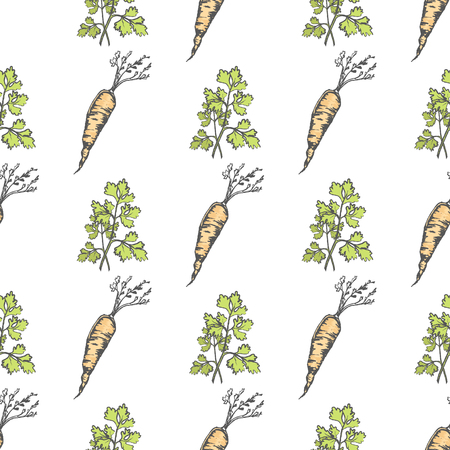 Healthy Carrot and Parsley Sprig Seamless Pattern
