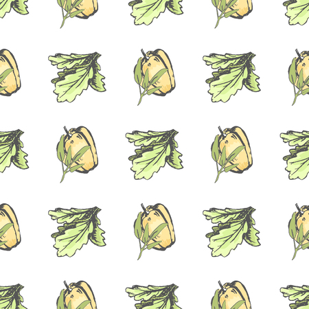 Sweet Pepper and Lettuce Leaves Seamless Pattern
