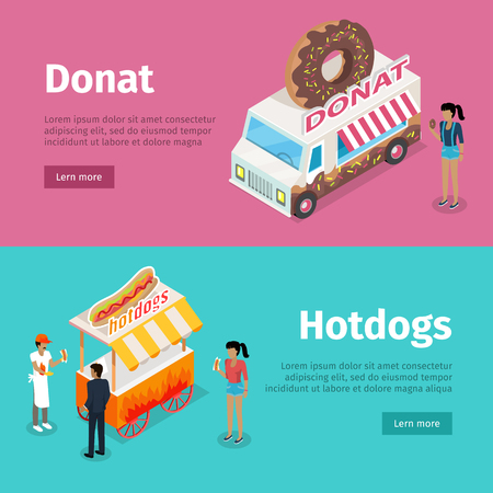 Donut and Hotdogs Mobile Umbrella Carts Poster