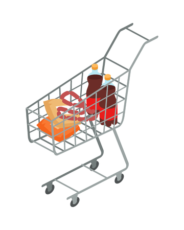 Supermarket Trolley with Food Isometric Vector Illustration