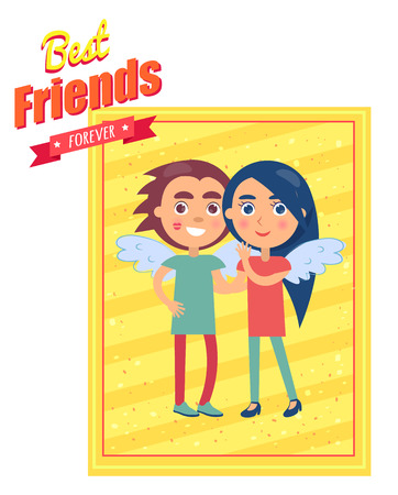 Friends Day Card with Boy and Girl in Wings
