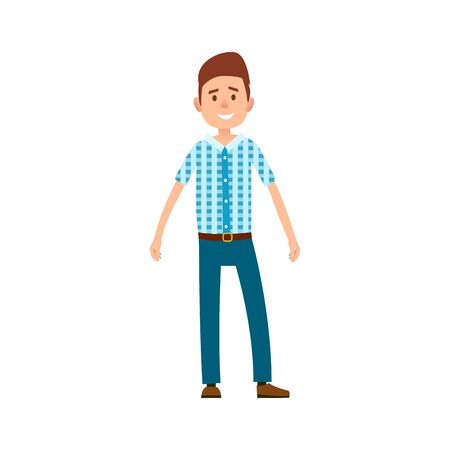 Man in Casual Cloth Wears Checkered T-shirt, Jeans