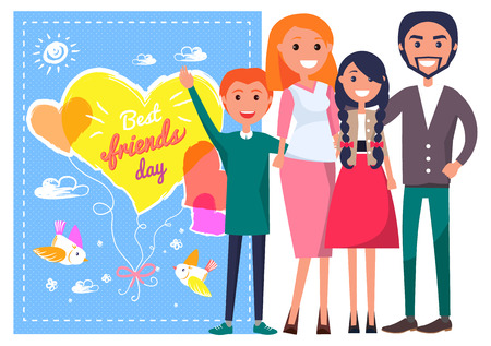 Best Friends Day Template Poster with Family.