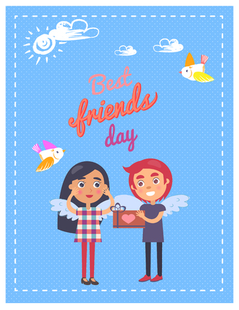 Friends Day Card with Boy Giving Present Girl