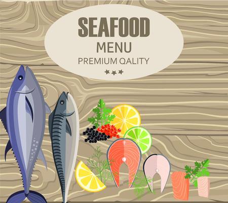 シーフードレストランメニュー (魚のカッティングボード上)
