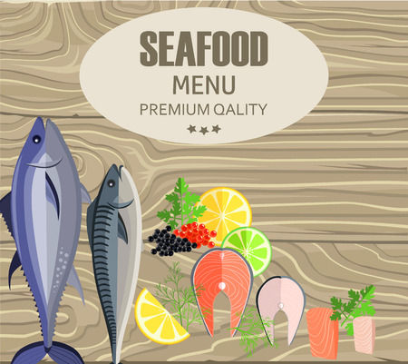Seafood Restaurant Menu with Fish on Cutting Board Çizim