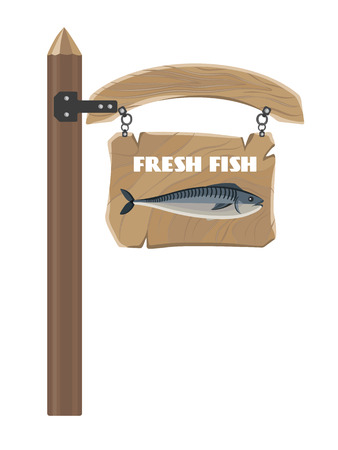 Fresh Fish on Hanging Wooden Board Vector Poster