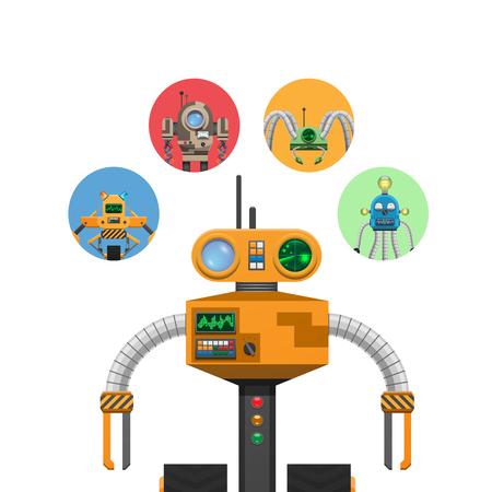 インジケータとアンテナを備えたオレンジメカニックロボット  イラスト・ベクター素材