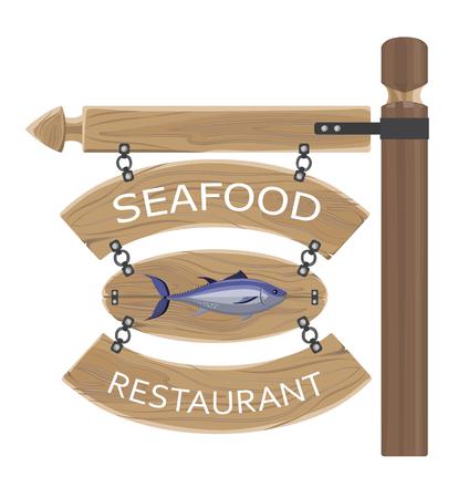 Restaurant zeevruchten advertentie op houten planken