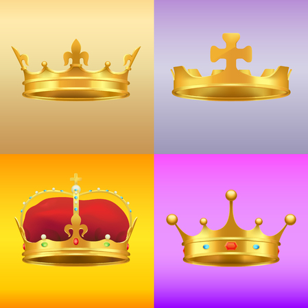 Gold Kings Medieval Crowns in Several Designs Set Stock Vector - 89335491
