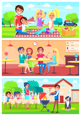 Family Eats Together Out of Home Illustrations Set