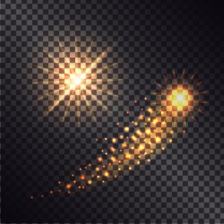 Bright Shooting Star with Shiny Trace Illustration Ilustração