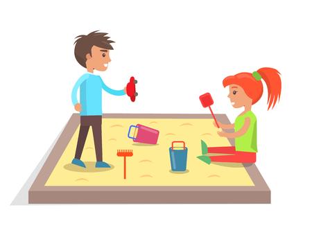 サンドボックスのイラストで子供たちはおもちゃで遊ぶ