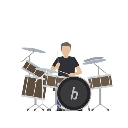 男は大きなドラムセットで遊ぶ孤立したイラスト