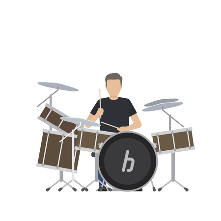 Man Plays on Big Drum Set Isolated Illustration