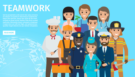 Teamwork of People with Different Profession Illustration