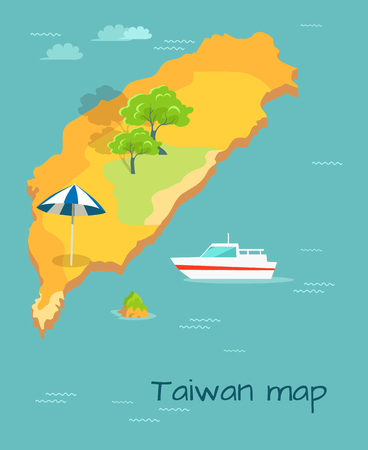 Taiwan map cartography design. Chinese land with sun umbrella, cruise liner ship in Pacific ocean. Vector illustration of small green island, trees and endless water, travel concept in cartoon style